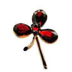 French antique rose gold and garnet clover stick pin