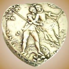 Antique Hanau 800 silver heart pill box or snuff box