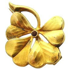 French FIX 18k gold fill lucky four leaf clover brooch