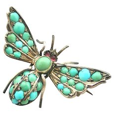 Antique Victorian pave turquoise bee insect bug brooch French import
