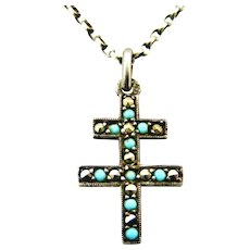 French antique 800-900 silver cross of Lorraine , turquoise and marcasite