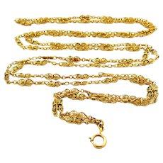 Fabulous French FIX filigree gold filled long guard muff chain sautoir