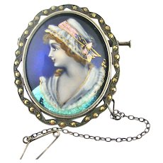 French Limoges foiled enamel brooch in 800-900 silver and marcasite
