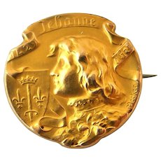 French antique art nouveau FIX Joan of Arc brooch in 18k gold fill
