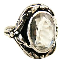 Arts and Crafts sterling silver rock crystal ring