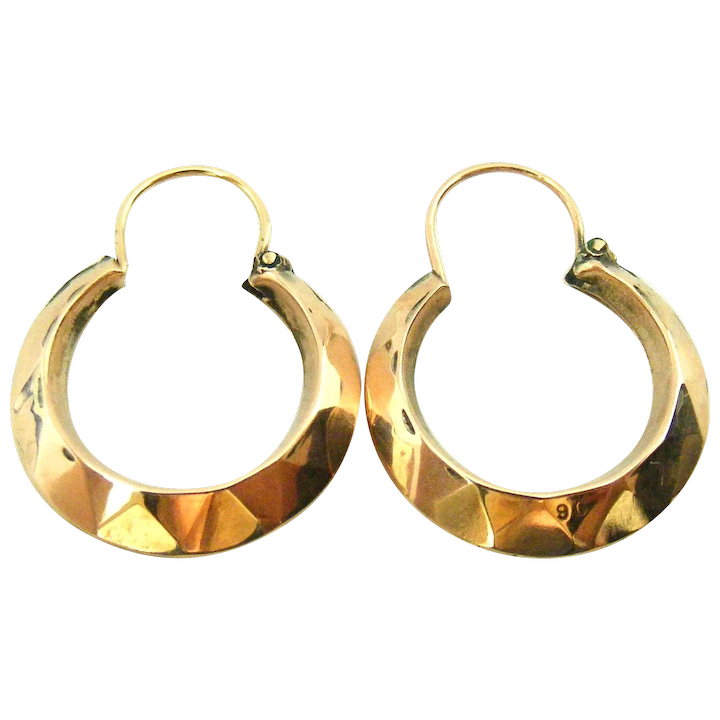 1.56 grams 1976 Retro  Vintage 9K  9ct Rose Gold Etched Hoop Earrings with Matte  Satin Finish Birmingham Hallmarked