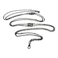 Lovely French black steel mourning guard chain 60 inches