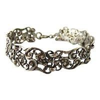 Art nouveau rococo sterling silver panel bracelet