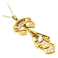 French art deco 18k gold filled pendant necklace