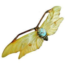 Fabulous French art nouveau horn bug insect moth cicada brooch