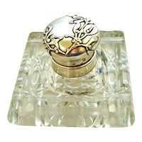 French antique art nouveau 800-900 silver mistletoe and cut crystal inkwell