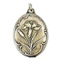 French antique art nouveau 800-900 silver slide mirror locket , carnation flowers