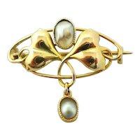 Art nouveau Murrle Bennett 9k gold brooch blister pearls