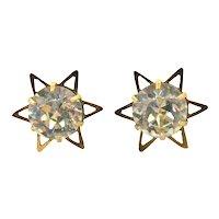 Art deco paste star stud earrings in 9k gold