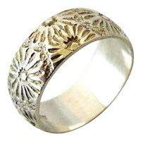 Vintage sterling silver wedding ring flower etched cigar band