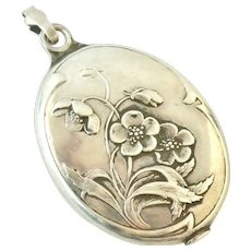 French Art Nouveau 800-900 silver slide mirror locket by Prudent Quitte
