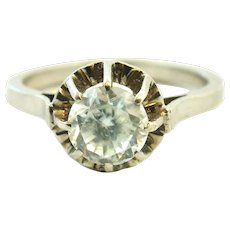 French sterling silver rock crystal solitaire ring