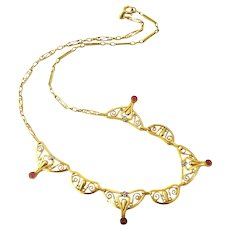 French art deco 18k gold filled necklace by Oria
