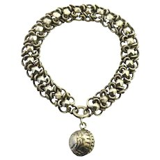 French antique 800-900 silver bracelet with ball fob
