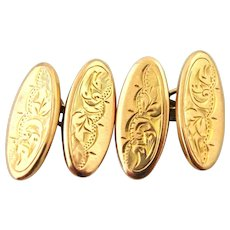 Victorian engraved cufflinks 9k rose gold 1894