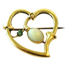 Victorian 15k gold opal emerald witches heart brooch