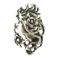 Sterling silver art nouveau lady ring