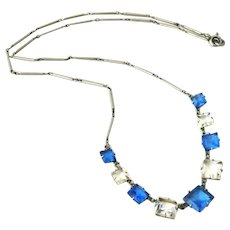 Art deco PLATINON necklace with blue and white paste stones