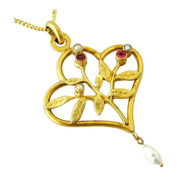 French art nouveau ORIA 18k gold fill pendant and chain ruby paste and faux pearls