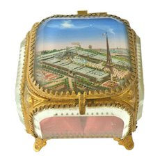 Antique French Paris , Eiffel tower glass and ormolu jewelry casket