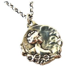 French art nouveau 800-900 silver lady pendant and chain by Jouant