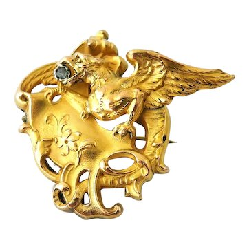 French art nouveau FIX Griffin in 18k gold fill and rose cut diamond