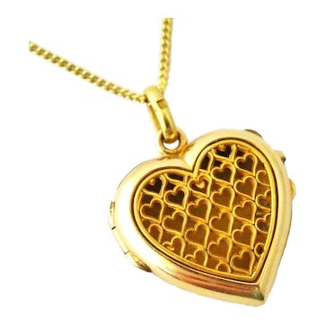 French FIX art deco 18k gold fill heart pomander locket and chain
