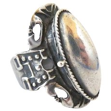 French silver poison ring arts and crafts era