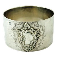 French napkin ring antique sterling silver baroque