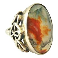 Arts and Crafts moss agate ring sterling silver huge stone