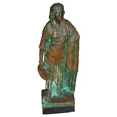 Antique art nouveau bronze sculpture gypsy girl