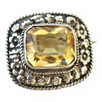 Sterling silver citrine brooch arts and crafts