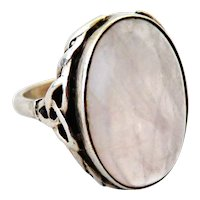 Rose quartz sterling silver ring celtic arts and crafts