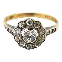 Art deco paste daisy ring in 9k gold and silver
