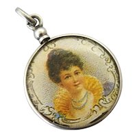 Antique French silver and glass screw top locket