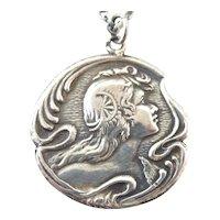 French antique art nouveau lady pendant sterling silver