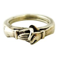 Vintage Taxco Sterling fede or gimmel ring French import marks