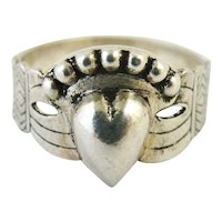 French antique 900 silver claddagh or fede ring
