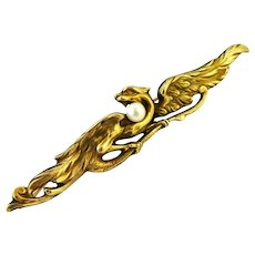 Reduced for A ,French art nouveau griffin brooch 18k gold fill by Oria