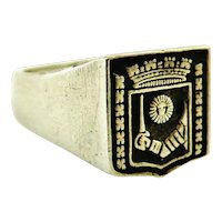 Vintage French heraldic signet ring in 800-900 silver