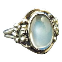 Ceylon moonstone ring in sterling silver Arts and Crafts