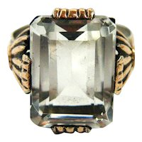 French rock crystal tank ring art deco rose gold vermeil