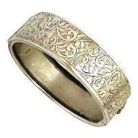 Vintage hinged bangle sterling silver Victorian style Kenart