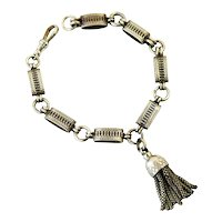 Victorian sterling book chain bracelet with tassel