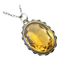 Vintage sterling silver citrine pendant